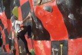 Silvia juara satu  panjat tebing buatan
