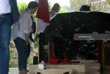 Presiden RI ke-5 yang juga ketua umum Partai Demokrasi Indonesia Perjuangan (PDIP) Megawati Soekarnoputri berdiri didekat pusara makam sesaat usai memanjatkan do'a di Makam Presiden Pertama RI Soekarno di Blitar,Jawa Timur, Kamis (10/5). Soekarno di Blitar,Jawa Timur, Kamis (10/5). Ziarah dalam rangka memanjatkan do'a jelang bulan suci ramadhan tersebut juga diikuti oleh sejumlah elite partai.Antara Jatim/Irfan Anshori/mas/18