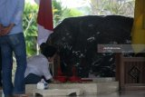 Presiden RI ke-5 yang juga ketua umum Partai Demokrasi Indonesia Perjuangan (PDIP) Megawati Soekarnoputri memanjatkan do'a didekat pusara makam saat berziarah di Makam Presiden Pertama RI Soekarno di Blitar,Jawa Timur, Kamis (10/5). Ziarah dalam rangka memanjatkan do'a jelang bulan suci ramadhan tersebut juga diikuti oleh sejumlah elite partai.Antara Jatim/Irfan Anshori/mas/18
