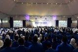 Ribuan mahasiswa baru Universitas Pancasila Jakarta ketika mendapat pembekalan tentang bahaya radikalisme dan narkoba di Gedung Serba Guna UP. (Megapolitan.Antaranews.Com/Foto: Feru Lantara)