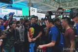 Skuat Sriwijaya FC tiba di Palembang disambut supporter