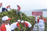 Direktur Utama PJT II  U. Saefudin Noer (kanan) meninjau para pegawai yang membersihkan eceng gondok dalam acara peringatan hari air dunia ke-27 dan HUT BUMN RI ke-21 di Perairan Waduk Jatiluhur, Pelabuhan Biru, Purwakarta, Jawa Barat, Rabu (10/4/2019). Kegiatan tersebut merupakan bentuk kepedulian PJT II sebagai BUMN RI yang bertugas mengelola waduk terbesar di Indonesia untuk melindungi dan melestarikan waduk sebagai salah satu sumber air yang bermanfaat bagi masyarakat. ANTARA JABAR/M Ibnu Chazar/agr