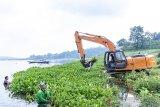 Sejumlah warga bergotong royong membersihkan eceng gondok di Perairan Waduk Jatiluhur, Pelabuhan Biru, Purwakarta, Jawa Barat, Rabu (10/4/2019). Menurut Direktur Utama Perum Jasa Tirta II U. Saefudin Noer pengelolaan dan pemeliharaan waduk merupakan upaya melindungi dan melestarikan sumber air untuk  ketahanan air nasional yang berkesinambungan bagi kehidupan masyarakat. ANTARA JABAR/M Ibnu Chazar/agr