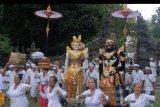 Umat Hindu membawa benda-benda sakral dalam tradisi Mapeed di Pura Alas Kedaton, Tabanan, Bali, Selasa (13/8/2019). Tradisi yang digelar setiap enam bulan sekali tersebut merupakan rangkaian upacara persembahyangan di pura yang terletak di dalam areal obyek wisata Alas Kedaton. ANTARA FOTO/Nyoman Hendra Wibowo/nym.