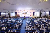 Sebanyak 2.400 mahsiswa baru Universitas Pancasila ketika mengikuti Pengenalan Kehidupan Kampus bagi Mahasiswa Baru (PKKMB) 2019 di Gedung Serba Guna, Senin (26/8/2019).