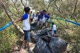 Bersih-bersih pesisir kawasan ekowisata mangrove Muaragembong Bekasi