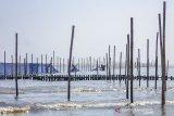 Petugas menyelesaikan pemasangan kain waring atau jaring di perairan pantai utara, Karawang, Jawa Barat, Selasa (10/9/2019). Pertamina memasang kain waring atau jaring sepanjang 8 KM di perairan pantai utara karawang sebagai penanganan lanjutan untuk mengurangi dampak ceceran minyak mentah di pesisir pantai. ANTARA JABAR/M Ibnu Chazar/agr