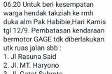 Habibie Wafat, Permudah masyarakat melayat, tiga ruas jalan ganjil genap sementara dihentikan