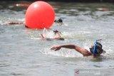 Sejumlah peserta mengikuti kejuaraan renang nomor Finswimming di Pelabuhan Cirebon, Jawa Barat, Sabtu (14/9/2019). Kejuaraan renag laut dan balap perahu karet yang digelar Pangkalan TNI AL Cirebon tersebut dalam rangka memperingati HUT ke-74 TNI AL. ANTARA JABAR/Dedhez Anggara/agr