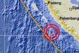 Gempa 5,9 SR di barat laut Bengkulu