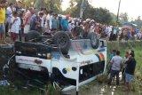Bus Tranex masuk sawah dan terbalik