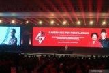 Presiden Jokowi laporkan kondisi ekonomi Indonesia acara HUT PDIP