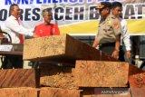 Personel Kepolisian Polres Aceh Barat memperlihatkan pelaku perambahan kawasan hutan lindung beserta barang bukti kayu ilegal jenis meranti saat konferensi pers di Mapolsek Meureubo, Aceh Barat, Aceh, Senin (13/1/2020). Aparat kepolisian setempat berhasil mengamankan seorang warga yang diduga sebagai pelaku perambahan kawasan hutan lindung dengan inisial SL dan barang bukti berupa 40 batang kayu ilegal jenis meranti beserta satu unit gergaji mesin senso pada Kamis (2/1) di Desa Tungkop, Kecamatan Sungai Mas. Antara Aceh/Syifa Yulinnas.