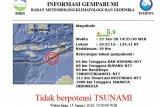 Rabu malam Kupang kembali diguncang gempa magnitudo 5,0