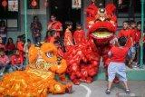 Atraksi barongsai menghibur siswa pada peringatan Tahun Baru Imlek di SD Warga, Solo, Jawa Tengah, Selasa (21/1/2020). Acara tersebut diselenggarakan untuk memperkenalkan kesenian dan budaya Tionghoa di Indonesia kepada para siswa. ANTARA FOTO/Mohammad Ayudha/pras.
