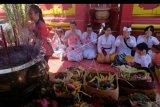 Warga keturunan Tionghoa melaksanakan persembahyangan Tahun Baru Imlek 2571 di Griya Kongco Dwipayana Tanah Kilap, Denpasar, Bali, Sabtu (25/1/2020). Warga setempat menggelar persembahyangan dengan mengenakan pakaian adat Bali dan membawa sesajen pada perayaan Tahun Baru China tersebut ANTARA FOTO/Nyoman Hendra Wibowo/nym.