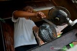 Samiaji, membakar durian di rumah makan Dusun Sumber, Desa Wonosalam, Kabupaten Jombang, Jawa Timur, Senin (27/1/2020). Durian bakar khas Wonosalam tersebut memiliki daging lebih lembut dan creamy tanpa aroma yang terlalu menyengat. Cocok bagi mereka yang tak terlalu suka aroma durian dan dijual mulai Rp25 ribu-Rp100 ribu tergantung ukuran. Antara Jatim/Syaiful Arif/zk.