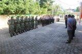 Ratusan  Polisi disiagakan  di kantor KPU Bandarlampung  pada penyerahan berkas Bacalon Wali Kota