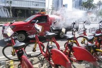 Penyemprotan disinfektan untuk fasilitas umum Ibukota