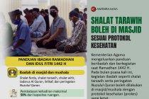 Shalat tarawih boleh di masjid sesuai protokol kesehatan