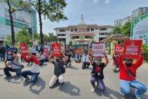 Jurnalis aksi tutup mulut tolak arogansi tim pengaman Wali Kota Medan
