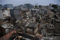 Sisa kebakaran permukiman di Taman Sari