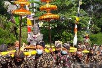 Umat Buddha Kaloran ritual peletakan patung Dewi Sri di ladang