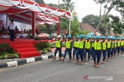 Karyawan PT Timah Toboali ikut lomba baris berbaris