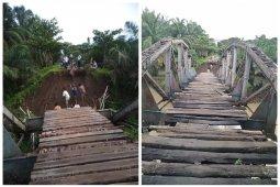 Jembatan di Kuala Kabupaten Langkat ambruk diterjang banjir