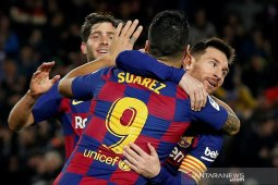 Messi cetak trigol bantu Barcelona atasi Mallorca