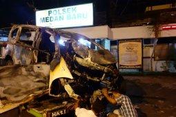 Kecelakaan tunggal di Padang Bulan, pengemudi tewas terpanggang di dalam mobil
