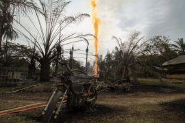 Sumur minyak di Peureulak Aceh Timur  terbakar