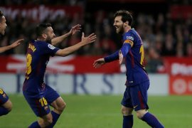 Messi antar Barcelona ke perempat final Liga Champions