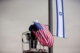 Markah jalan menuju Kedutaan AS dipasang di Yerusalem