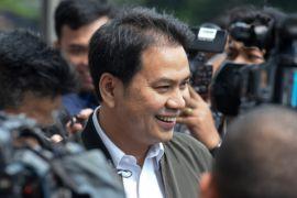 Usai diperiksa KPK Aziz Syamsuddin hemat bicara kepada pers