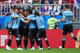 Uruguay unggul 2-0 atas Rusia dibabak pertama