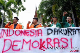 Polrestabes Medan amankan sejumlah mahasiswa pengunjuk rasa