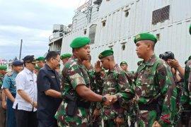 Berprestasi, kepulangan pasukan Satgas Pamtas disambut bangga