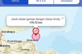 Gempa 6,4 SR  guncang Situbondo Jatim