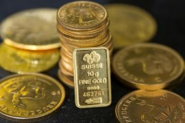 Transaksi Emas berjangka ditutup lebih tinggi selama tiga hari berturut-turut