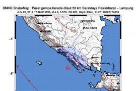 Gempa bumi berkekuatan magnitudo 4,6 di Pesisir Barat Lampung