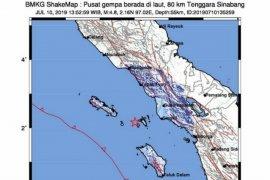 Gempa magnitudo 6,4 di Sinabang dirasakan hingga ke  Medan