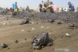 Penanganan tumpahan minyak mentah di pesisir laut Karawang