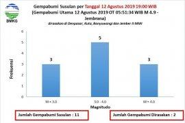 Jember diguncang tujuh gempa susulan pascagempa Bali