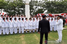 Anggota Paskibraka Kota Bogor pada HUT ke-74 Kemerdekaan RI tahun 2019