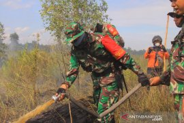 Dandim fights forest and land fire around Syamsudin Noor Airport