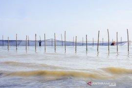 Pemasangan Kain Waring di Perairan Pantai Utara Karawang