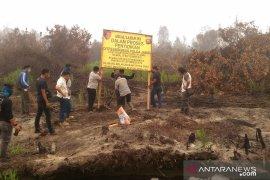 Polda Jambi pasang garis polisi di lahan PT MAS yang terbakar