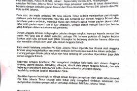 Surat berlogo PMI ungkap  kronologi tindakan kekerasan oknum Brimob