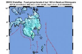 Catatan BMKG  tiga kali gempa susulan di Talaud